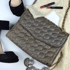 Rebecca Minkoff bronze quilted studded bag brown