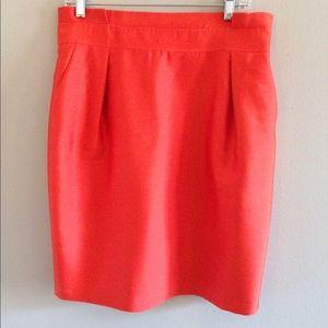 Reiss Firebrick silk pencil skirt, size 10.