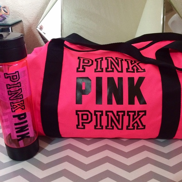 3eba53b31d35 Neon Hot Pink Duffel Bag Water Bottle Set