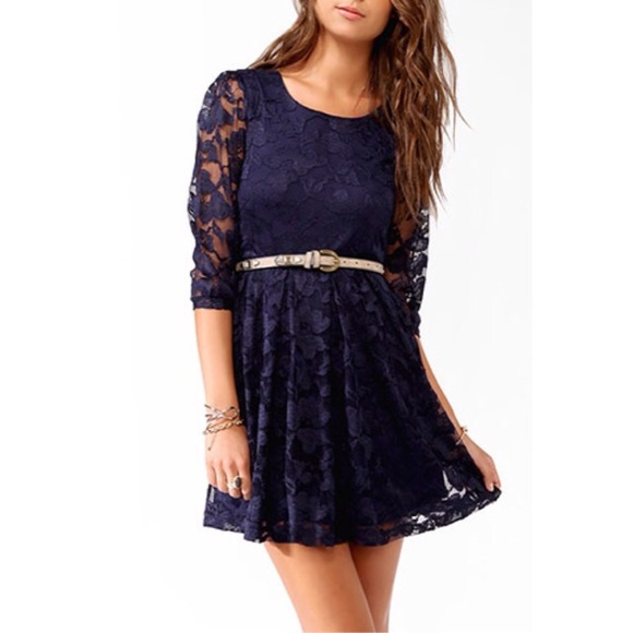 45fcc2be6f42 Forever 21 Dresses & Skirts - Forever 21 Navy Blue Lace Dress Small