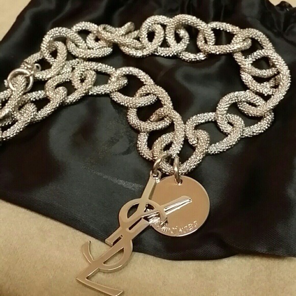 0a03b4af921 Yves Saint Laurent Jewelry | Logocharm Silver Link Necklace | Poshmark