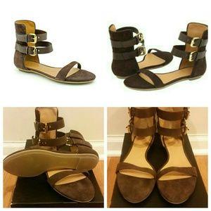 L.A.M.B. Shoes - L.A.M.B Quinto Suede Gladiator Sandals