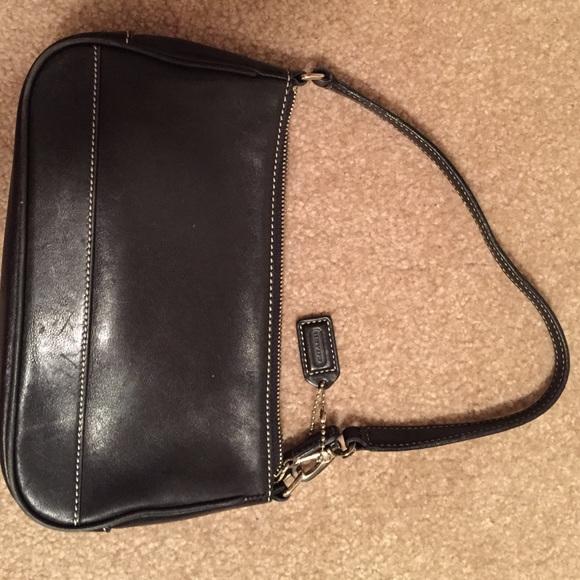 93% off Coach Handbags - Small black leather Coach shoulder bag ...
