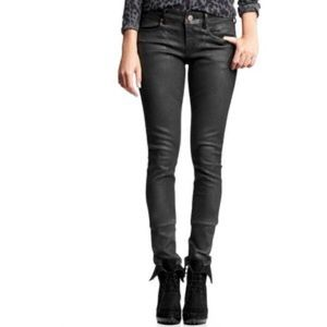 85% off GAP Denim - Gap black wax coated skinny jeans leather-like ...