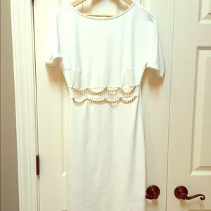 Cream Dress with gold chain accents