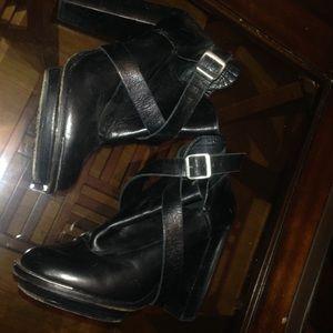 Topshop heel black strap bootie with metal trim