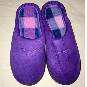 Plaid purple memory foam slipper