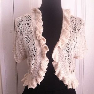 ‼️FLASH SALE‼️ Flirty Crochet Ruffle ShrugCardigan