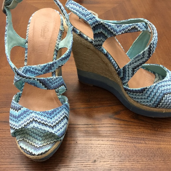 90 wanted shoes wanted blue chevron wedge sandals