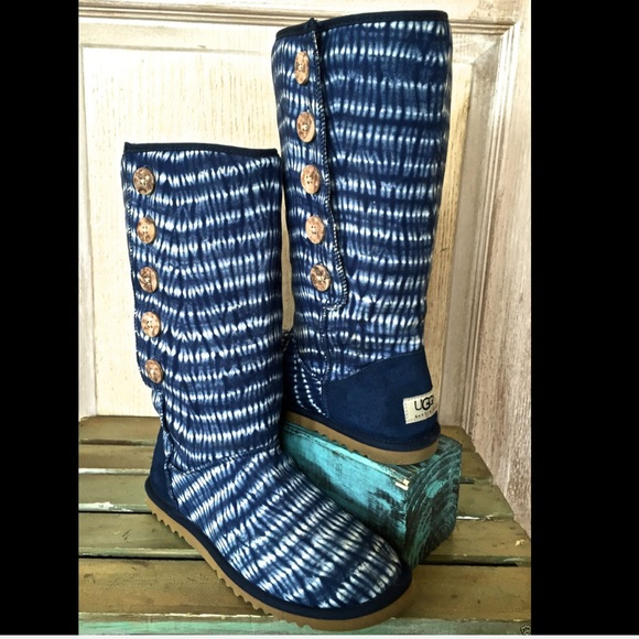 Ugg Ugg Blue White Tie Dye Canvas Bailey Button Boots