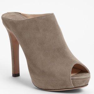 Prada Taupe Grey a Peep Toe Suede Mule 10/40 NWT