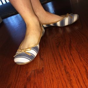 blue and white striped flats with bows