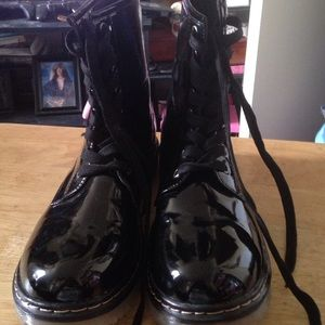 JustFab Black Shiny Ankle Boots