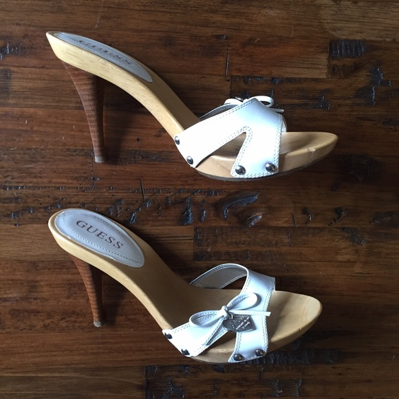7edbbcc059858 Guess Shoes - Guess white leather   wood heel sandals