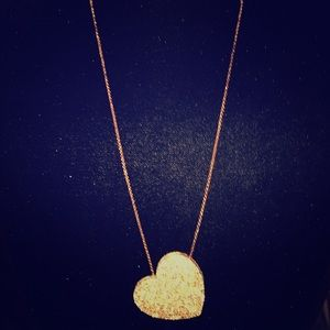 Jewelry - Long gold toned blingy heart necklace