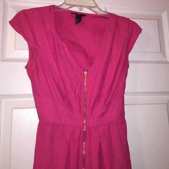 H&M Dresses | Super Cute Hot Pink Dress With Front Zipper | Poshmark