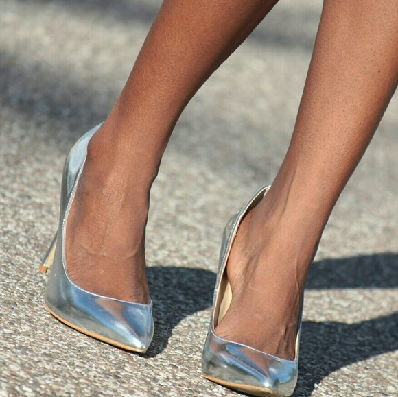 JustFab Shoes - Silver metallic heels from Just Fab.