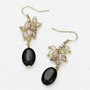 Stone beaded dangle earrings NWT