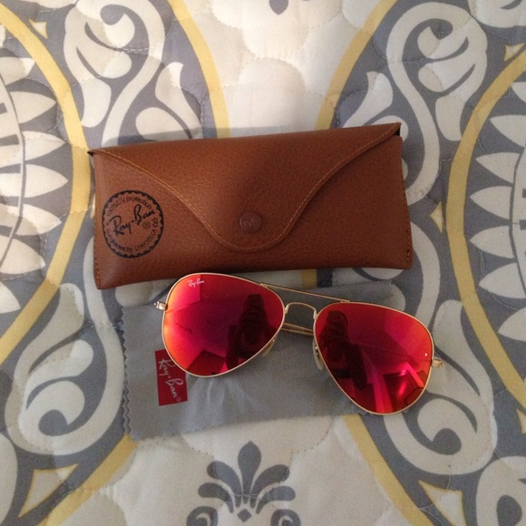 bccb62a8d5fe3 ... spain red orange mirrored ray ban aviator sunglasses 74876 a0596