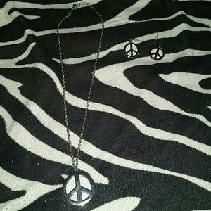 Peace Sign Necklace and Earrings!