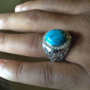 Jewelry - Blue Turquoise White topaz Ring.