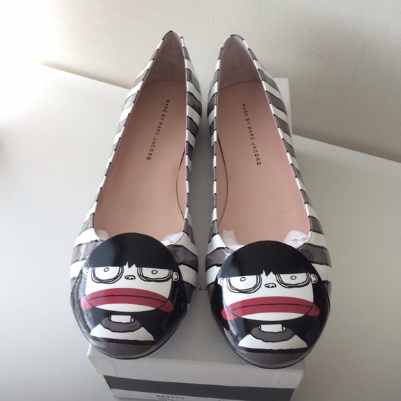 ab8bc5a93e4 Marc Jacobs Miss Marc Striped Ballerina Flats