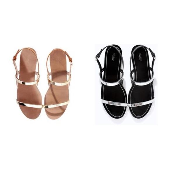 22853dc2d Zara flat sandals with gold metallic straps. M 55e8feb2bf6df576e0002cce