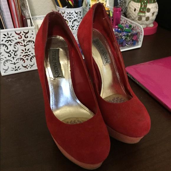 f7973266f9 Steve Madden Shoes   Red Suede Color Block Heels   Poshmark