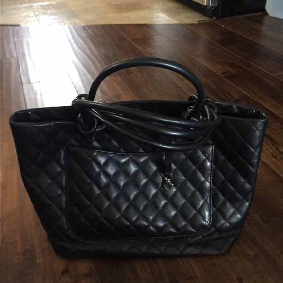29% off CHANEL Handbags - Chanel black quilted leather large ...