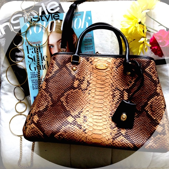 428f2b1291ea Coach snake animal print leather bag