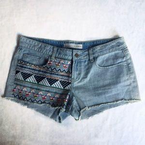 Denim - Embroidered FRINGE CUT OFF  DENIM Shorts