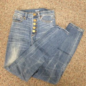 High rise twig ankle button fly jeans