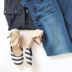 Navy Striped Espadrilles