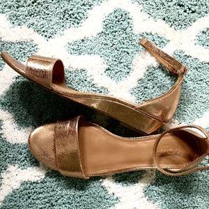 J Crew Factory Gold Low Heel Shoes