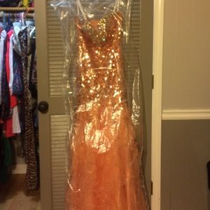 Peach prom dress, corset back