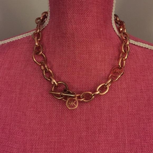 Michael Kors Jewelry Michael Kors Logo Rose Gold Chain Necklace Final Poshmark