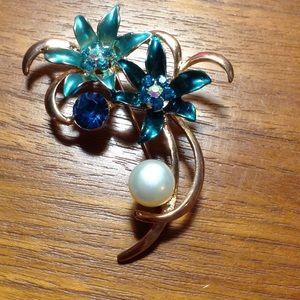 Real Pearl Sea Brooch Aqua Blue Mermaid Flowers