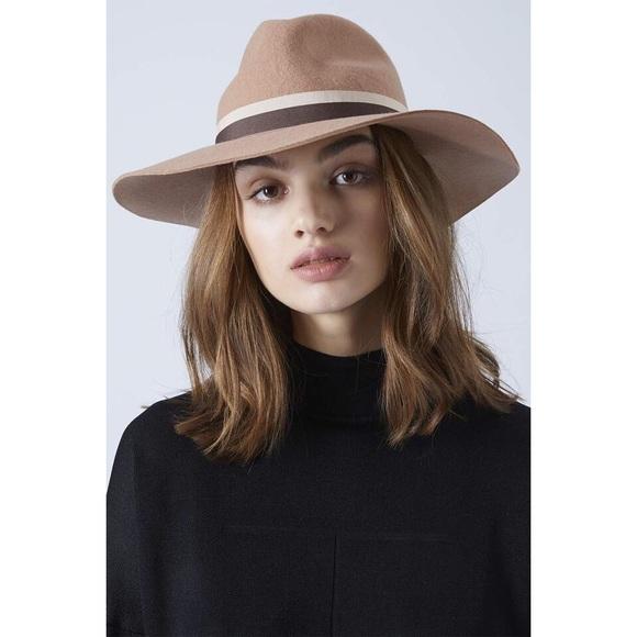 TOPSHOP Wide Brim Fedora Hat in Camel. M 55d5d4f068027828e600510d 5979c6536af