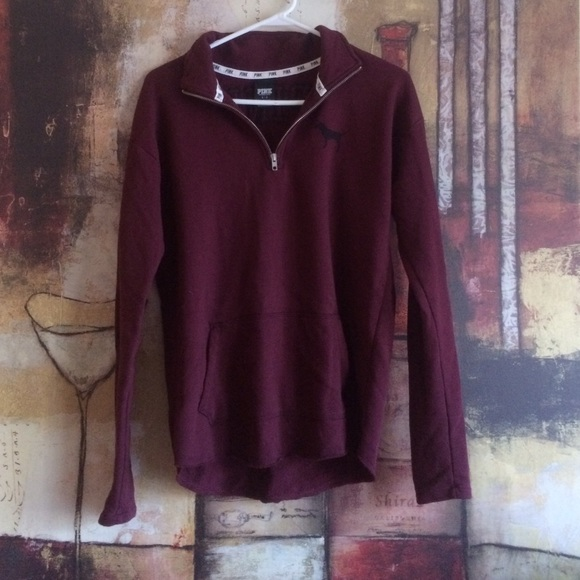 PINK Victoria's Secret - Burgundy VS Pink 3/4 zip sweater from ...