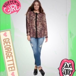 tla2 Tops - SOFT GEORGETTE ANIMAL PRINT BLOUSE