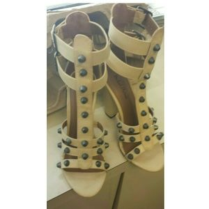 Bone Gladiator Studded Heel Sandals