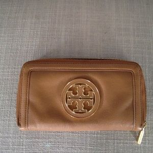 Tory Burch cognac zip around wallet