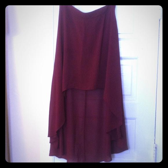 9 forever 21 dresses skirts burgundy hi low skirt