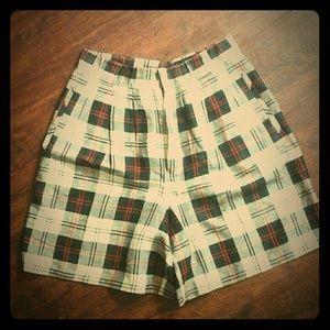Vintage High Waist Tartan Plaid Shorts