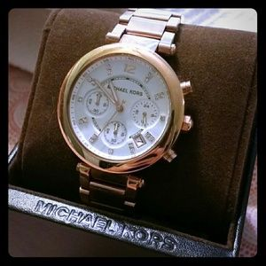 NWOT rose gold MK watch