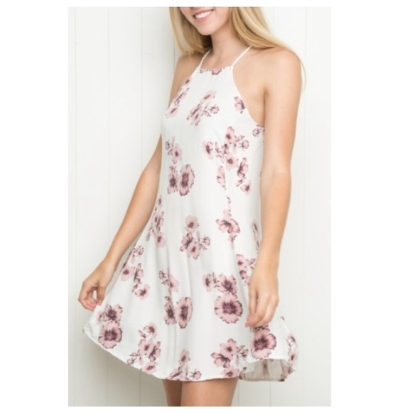 White dress with pink flowers