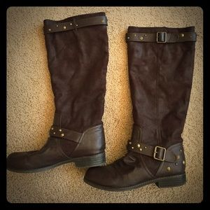 JustFab dark brown studded boots!