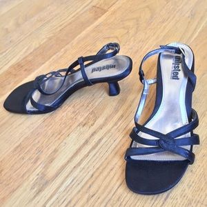 Unlisted Shoes - UNLISTED Kenneth Cole Blk Satin Lthr Sole Sandals