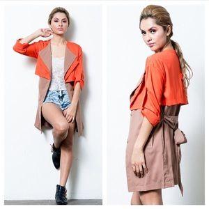 Jackets & Blazers - Orange/ Taupe Jacket