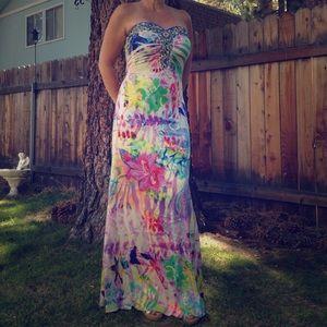 Prom season is coming! Hand beaded maxi dress.